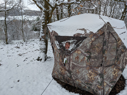 snow covered ground blind turkey hunting